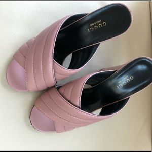 Gucci Webby High Heel Mules - Rose Pink